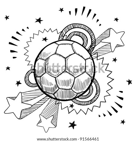 Doodle style soccer or futbol sports illustration in vector format with retro 1970s pop background