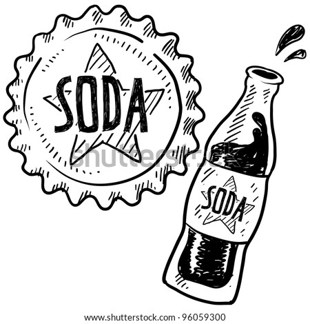 Doodle style soda bottle with cap illustration in vector format