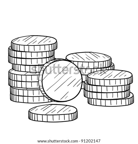 Doodle style stacks of coins and currency illustration in vector format suitable for web, print, or advertising use.