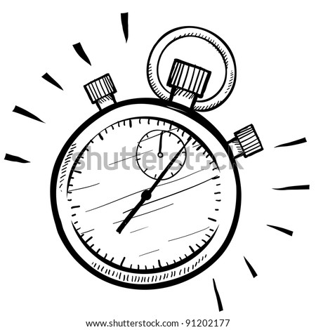 Doodle style stopwatch or timer illustration in vector format suitable for web, print, or advertising use. - stock vector