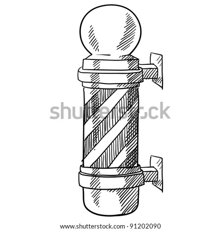 Doodle style striped barbershop pole illustration in vector format suitable for web, print, or advertising use.