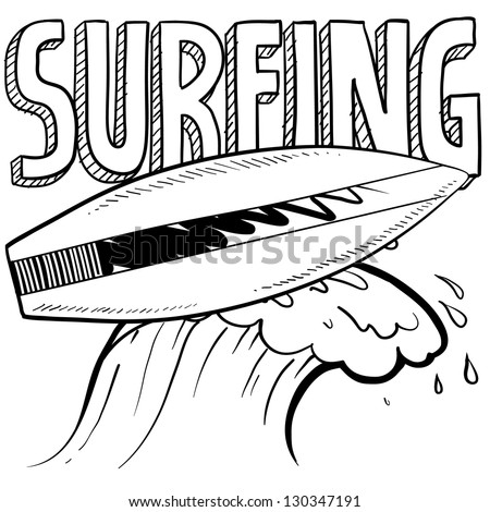 Doodle style surfing illustration in vector format. Includes text, surfboard, and wave crest.