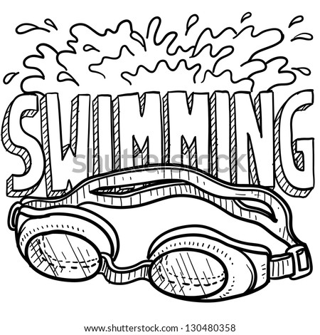 Doodle style swimming sports illustration.  Includes text and goggles.