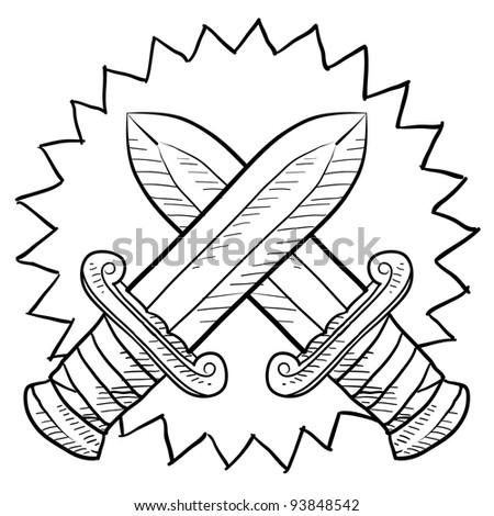 Doodle style swords in conflict sketch in vector format.