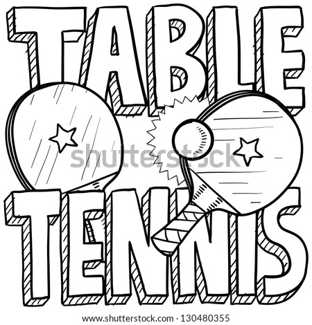 Doodle style table tennis or ping pong sports illustration.  Includes text, paddles, and balls.