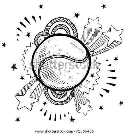 Doodle style tennis ball sports illustration in vector format with retro 1970s pop background