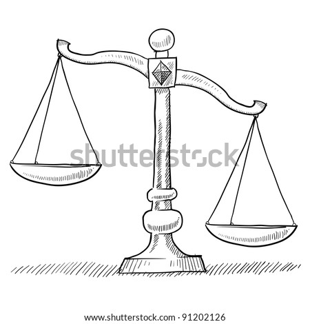 Doodle style tipped or unbalanced scales of justice illustration in vector format suitable for web, print, or advertising use.