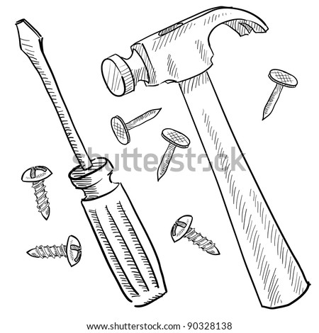 Doodle style tools or home improvement vector illustration with hammer, nails, and screwdriver