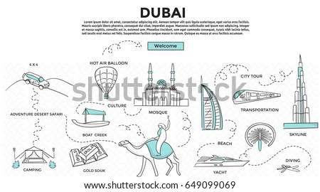 Doodle style. Travel dubai concept. Modern line style concept for web banners. Adventure desert safari, bus tour, yacht, hot air balloon, mosque, culture, diving, camp desert. landmark .