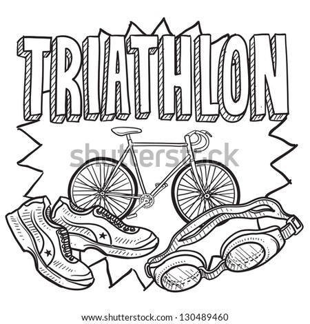 Doodle style triathlon illustration in vector format.  Includes text and swimming goggles, bicycle, and running shoes.
