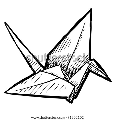 Doodle style tsuru origami crane or bird illustration in vector format suitable for web, print, or advertising use.