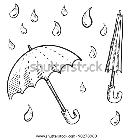 Doodle style umbrellas and rain drop vector illustrations