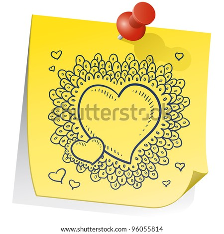 Doodle style Valentine's Day heart pattern with elaborate border on a yellow sticky note.  File is vector for editing and scaling.
