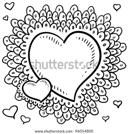 Doodle style Valentine's Day heart with elaborate border around the main icon and smaller hearts positioned in the art space in vector format