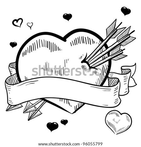 Doodle style Valentine's Day romantic heart pierced by arrows with a banner for a text message in vector format