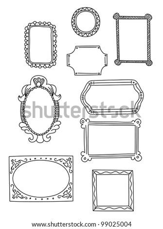 Doodle style vintage frames - stock vector