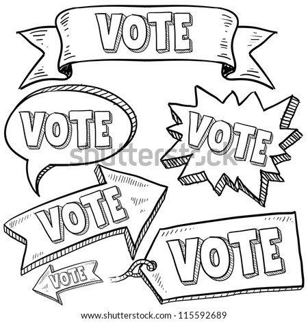 Doodle style vote in the election banners and tags illustration in vector format.