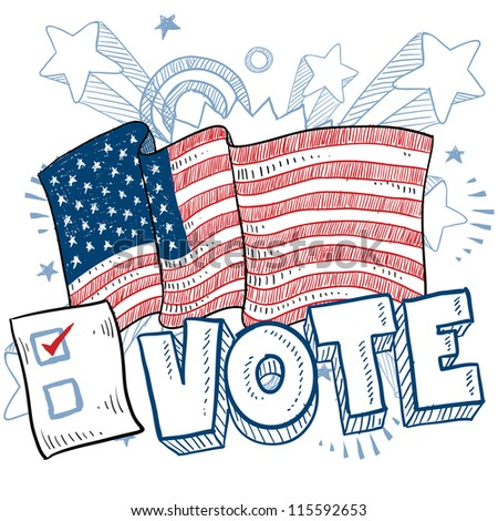 Doodle style vote in the election with american flag and check box illustration in vector format.
