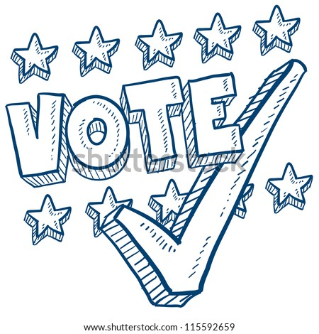 Doodle style vote in the election with check mark illustration in vector format.