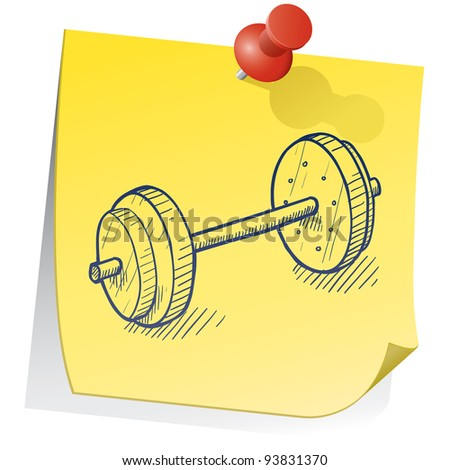 Doodle style weightlifting equipment on yellow sticky note sketch in vector format