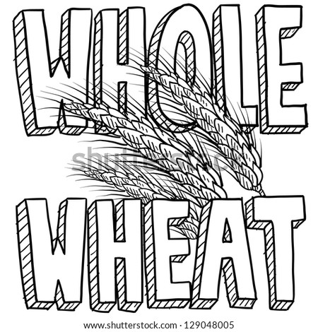 Doodle style whole wheat cereal or grain illustration in vector format.  Includes title text and sheaf of grain.