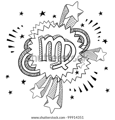 Doodle style zodiac astrology symbol on 1960s or 1970s pop explosion background - Virgo