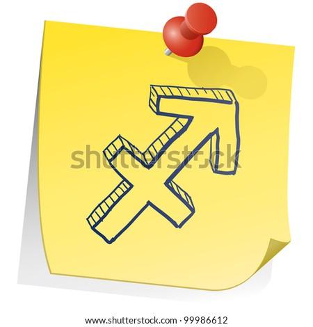 Doodle style zodiac astrology symbol on sticky note background - Sagittarius - stock vector