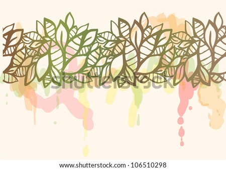 Doodle stylized leaves seamless line with watercolor splatters.