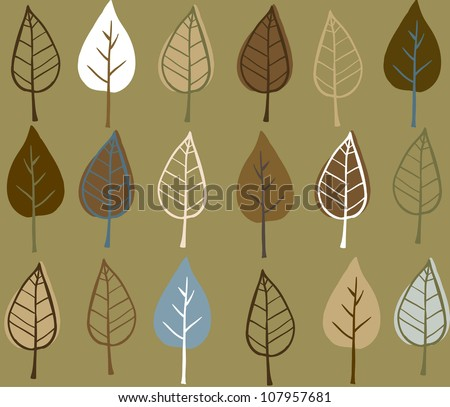 Doodle stylized leaves seamless pattern.