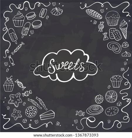 doodle sweet food frame on