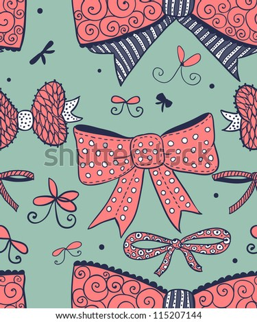 Doodle textured bows seamless pattern.