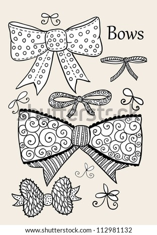 Doodle textured bows set. - stock vector