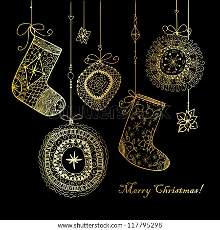 Doodle textured Christmas baubles and socks background.