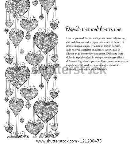 Doodle textured hearts seamless line.