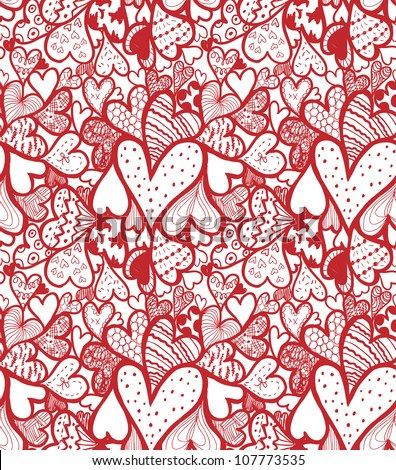 Doodle textured hearts seamless pattern.