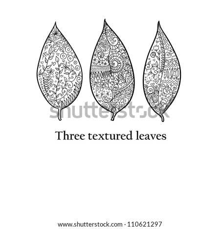 Doodle textured leaves background