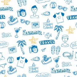 doodle travel vector seamless pattern