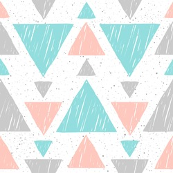 Doodle triangle seamless background. Abstract blue, grey and pink triangle pattern for card, invitation, wallpaper, album, scrapbook, holiday wrapping paper, textile fabric, garment, t-shirt etc