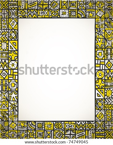 doodle tribal photo frame with african ornament