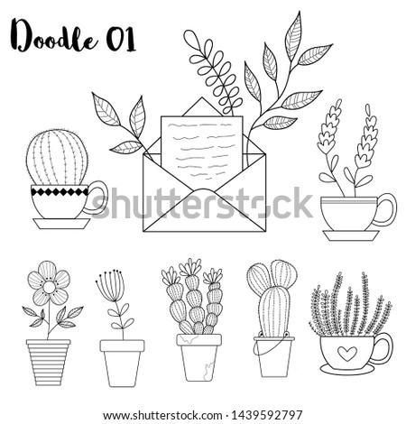 doodle. tropical doodle. nature doodle. mail doodle. succulent, botanical , hand draw. vector illustration