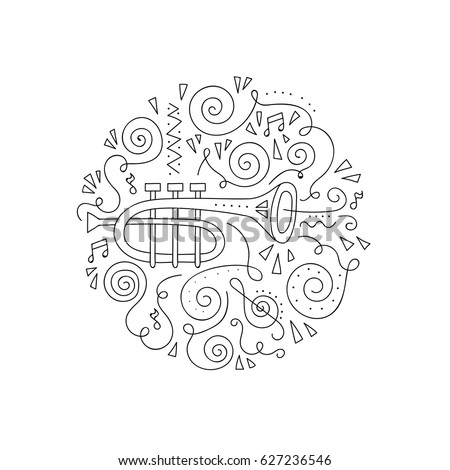 Doodle Trumpet. Jazz festival coloring page. Decorative vector illustration.
