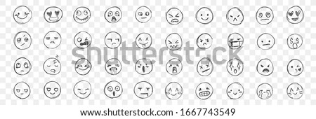 Doodle various emodji set. Hand drawn face expressions, happy, sad mood. Laughing face, smiling mouth, crying eyes. Different mood. Positive, negative human feelings. Vector illustration