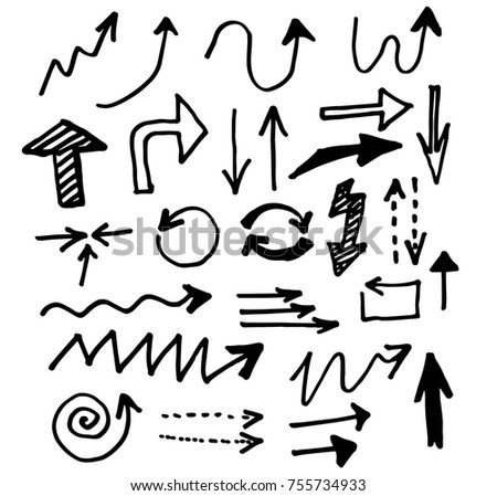 Doodle vector arrows. Isolated. Hand drawn set #755734933