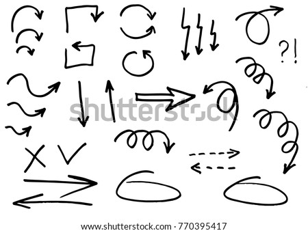 Doodle vector arrows. Isolated. Hand drawn set