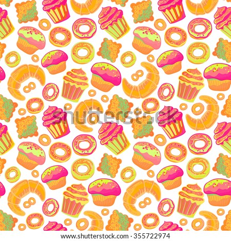 Doodle vector.Bakery,Cakes and dessert, pastries  seamless pattern. Colored vintage sweet elements background. Hand drawn vintage collection. Backdrop,fabric,wallpaper
