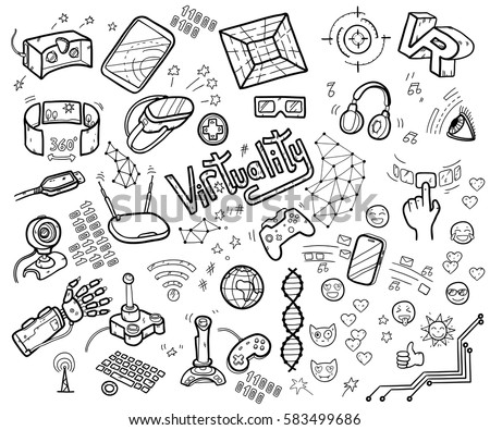 Doodle vector collection of virtual reality and innovative technologies. Hand drawn objects: computer, internet, gamepad, smartphone, joystick, vr-device, 3d-glasses, emoji. Cute style.
