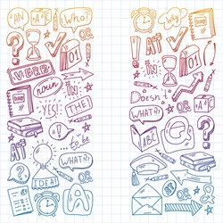 Doodle vector concept illustration of learning English language. English language courses. School. College. University.
