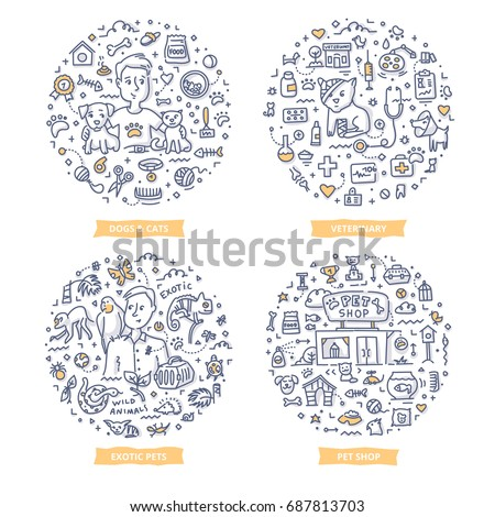 Doodle vector concepts of dogs & cats care, exotic pets lovers, pet shop and veterinary. Pets care line art illustrations