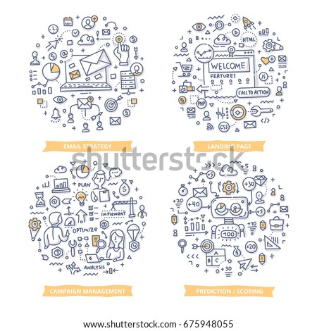 Doodle vector concepts of email strategy, page landing technology, campaign management, marketing prediction and scoring. Marketing automation concepts