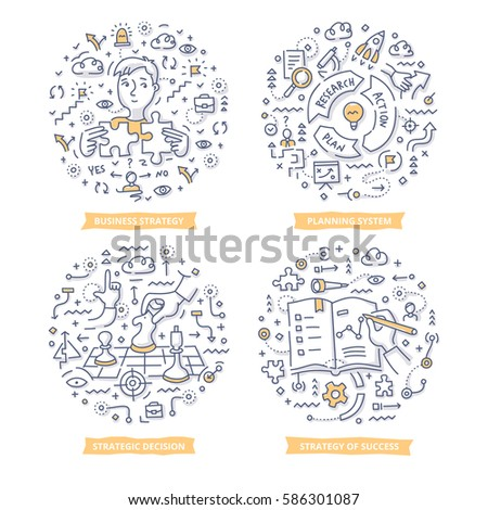 Doodle vector concepts of strategy planning, creating business plan, setting goals to success, making strategic decisions